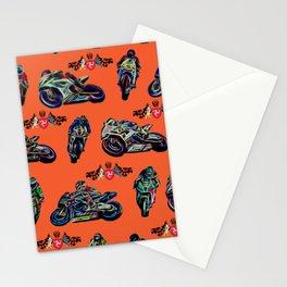GP Bikes on Orange Background Stationery Cards