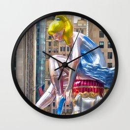 Seated Ballerina at Rockefeller Center 1 Wall Clock