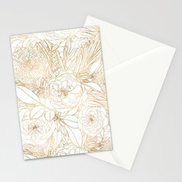 Trendy Gold Roses & Marigold Flowers White Design Stationery Cards