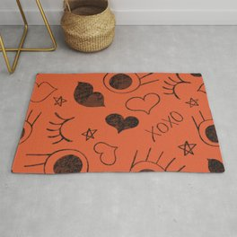 eyelash ,lips and heart  Rug