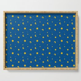 Night Sky Moon and Stars Serving Tray