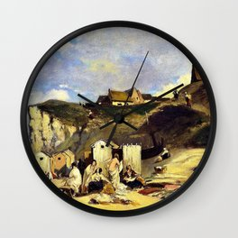 Woman Bath In Dieppe - Carl Spitzweg Wall Clock