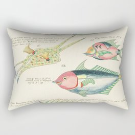 Colourful and surreal s of fishes found in Moluccas (Indonesia) and the East Indies by Louis Renard Rectangular Pillow