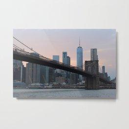 Sunset at the Brooklyn Bridge Metal Print