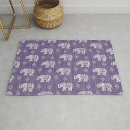 Elephants on Linen - Amethyst Rug