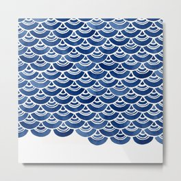 Blue and White Overlapping Fish Scale Watercolor Pattern Metal Print