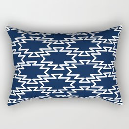 Southwest Azteca - Minimalist Geometric Pattern in White and Nautical Navy Blue Rectangular Pillow
