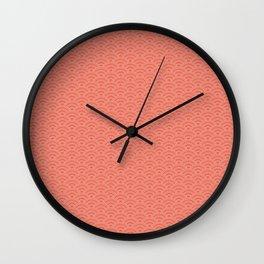 Pantone Living Coral Scallop Wave Pattern and Polka Dots Wall Clock