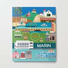Marin County, California - Collage Illustration by Loose Petals Metal Print