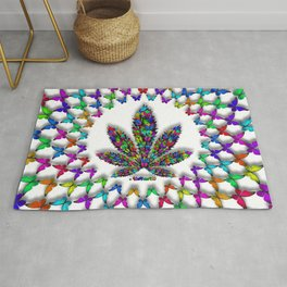 Butterflies Cannabis Leaf 2 Rug