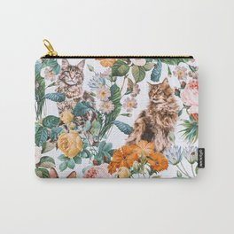 Cat and Floral Pattern III Tasche