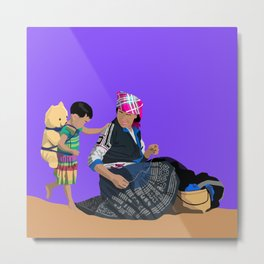 Mother and Child 3 - Mother and Daughter with Teddy Bear  Metal Print