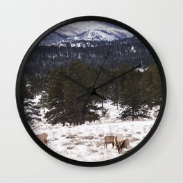 Snow mountain elk Wall Clock