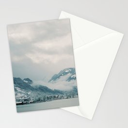 Snow covered Swiss village by a lake | Switzerland travel photography Stationery Cards