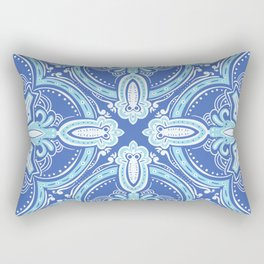 Pretty Light Blue Mediterranean Snowflake Pattern Rectangular Pillow