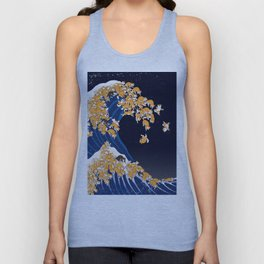 Shiba Inu The Great Wave in Night Unisex Tanktop