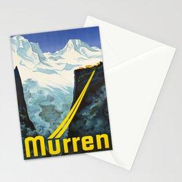 retro vintage murren bergbahn schweiz poster Stationery Cards
