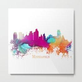 Minneapolis skyline watercolor Metal Print