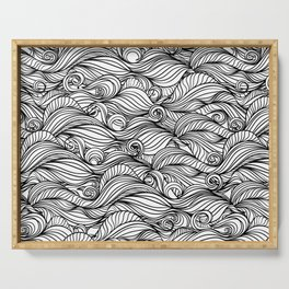 Black and white wave pattern Serving Tray