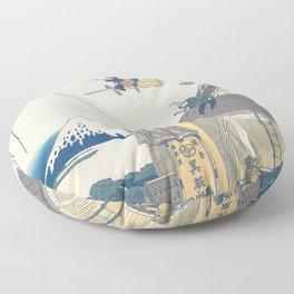 Kiki and the balloon - japanese vintage print mashup Floor Pillow