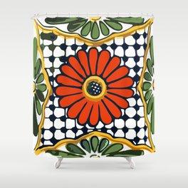 Talavera Rosa Flor Shower Curtain