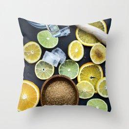 Preparing citruses for lemonade Throw Pillow
