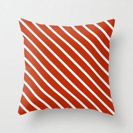Burnt Sienna Diagonal Stripes Throw Pillow
