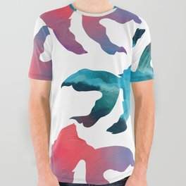 Pattern Oil Painting Abstract Tropical Fish All Over Graphic Tee