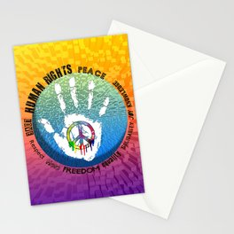 Peace and Love - coloured art digital by Iona Art Digital Stationery Cards