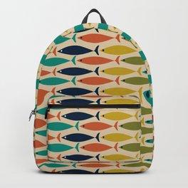 Midcentury Modern Multicolor Fish Half Pattern in Olive, Mustard, Orange, Teal, Beige Backpack