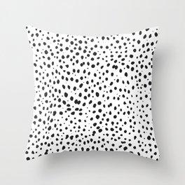 Dalmatian Spots - Black and White Polka Dots Throw Pillow