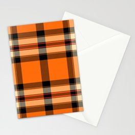 Argyle Fabric Plaid Pattern Autumn Orange & Black Colors Stationery Cards