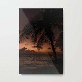 Sunset on palmtree | Beach sunset Metal Print