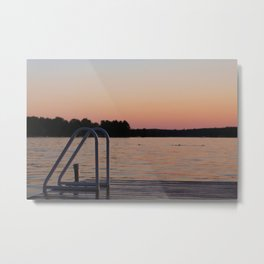 Sunset Swim Metal Print