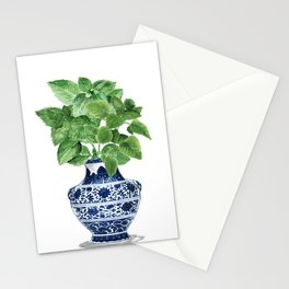 Ginger jar vase, peppermint painting Stationery Cards