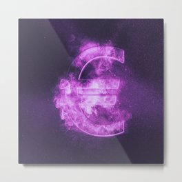 Euro sign, Euro Symbol. Monetary currency symbol. Abstract night sky background. Metal Print