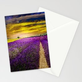 Fields of Gold Sunset and Lavender Blossoms landscape painting Stationery Cards