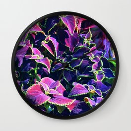 Pink & Purple Leaves in Fairytale Fantasy Garden Wall Clock