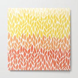 Leaf Pattern Orange Yellow Metal Print