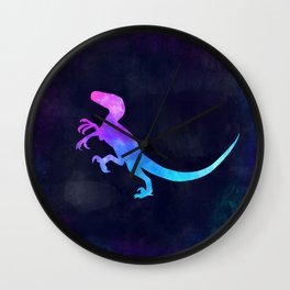 VELOCIRAPTOR IN SPACE // Dinosaur Graphic Art // Watercolor Canvas Painting // Modern Minimal Cute Wall Clock