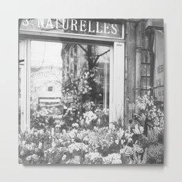 Paris, France Flower Shop-Boutique Fleurs black and white photograph Metal Print