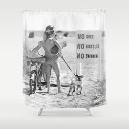 Girl ... It's Just Going to be One of Those Days black and white beach photograph Shower Curtain