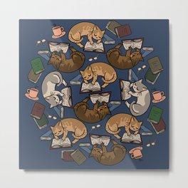Book Cats Metal Print
