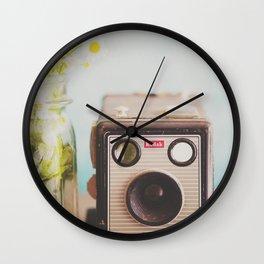 A vintage Kodak camera & a jar full of daisies. Wall Clock