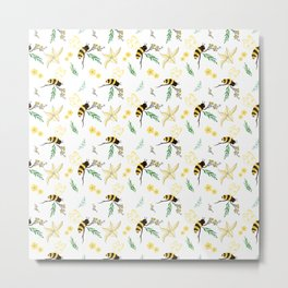 Abstract Hybrid Colored Spring Bee with Brenches Metal Print