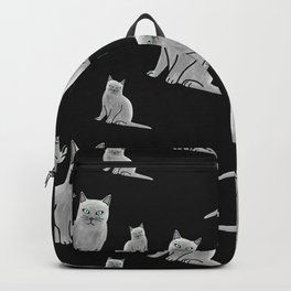 Light Gray Cats Pattern Backpack