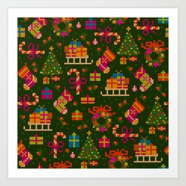 christmas x stitch pattern for the holiday mood Art Print