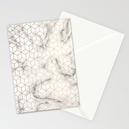 Gold Geometric Pattern on Marble Texture Stationery Cards