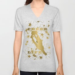 Cheer Life Design in Gold with Stars Unisex V-Neck
