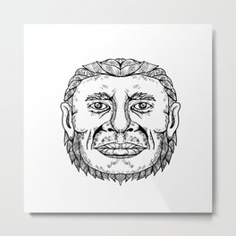 Neanderthal Male Head Doodle Art Metal Print